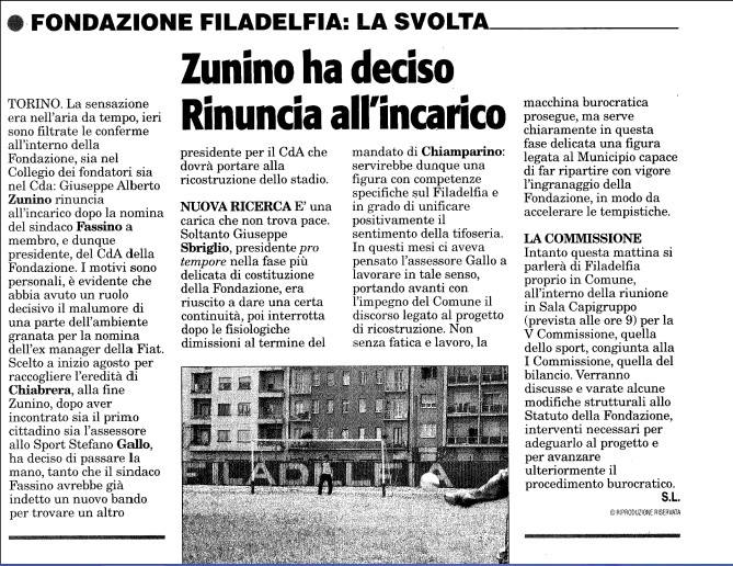 Articolo-Tuttosport-Rinuncia-Zunino