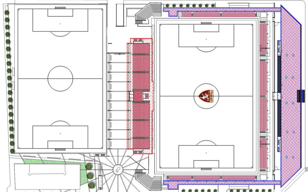 Nel secondo piano, la divisione mostra che la tribuna verrà realizzata nel primo lotto.