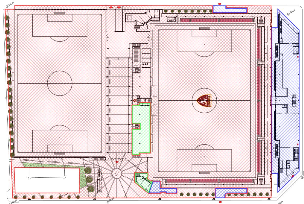 Nel piano terra, solo l'area multifunzionale (peraltro la cui destinazione d'uso non è stata ancora fissata) insieme all'area sottostante il moncone su via Filadelfia verranno realizzati nel secondo lotto. Il museo e gli accessi al garage faranno parte del terzo lotto.