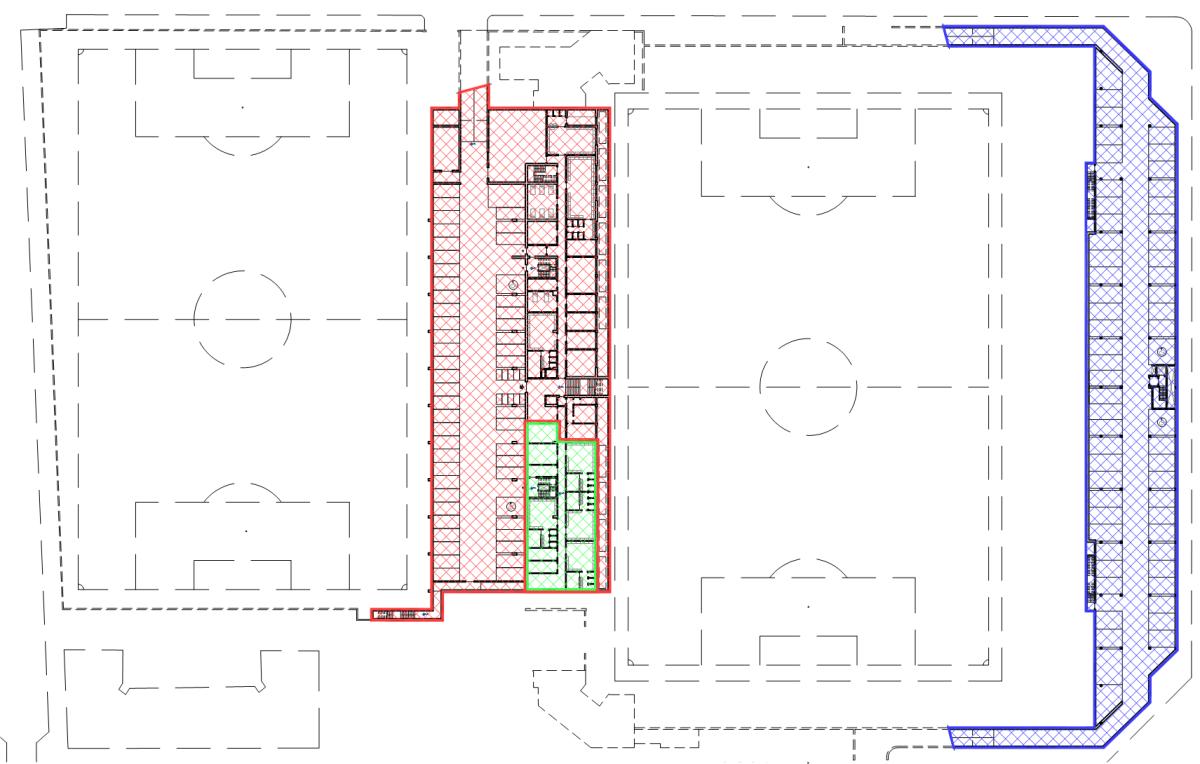 Nel piano interrato, alcune parti relative agli spogliatoi aggiuntivi faranno parte del secondo lotto. Il piano interrato del museo, adibito a parcheggi, sarà realizzato nel terzo lotto.