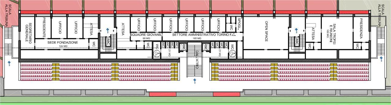 Mappa del primo piano. Parzialmente sotto la tribuna trovano lo spazio tutti i locali dedicati al Torino FC, alla Fondazione e alla Sala Riunioni in cui saranno contenuti tutti i trofei.