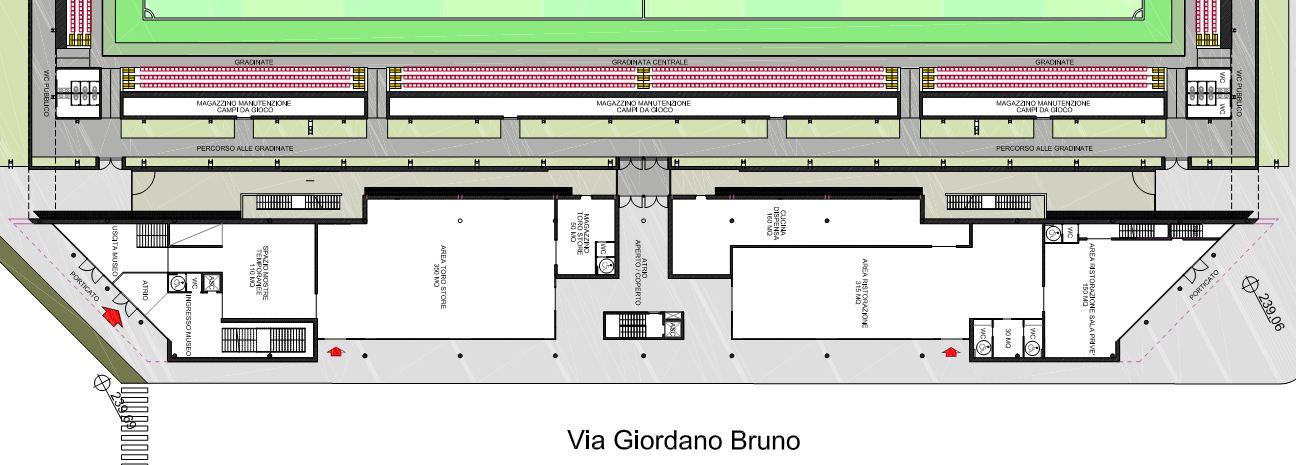La disposizione delle aree nel piano terra dell'area museale/commerciale. La divisione degli spazi riflette i requisiti dettati dall'AMSG al loro architetto incaricato.