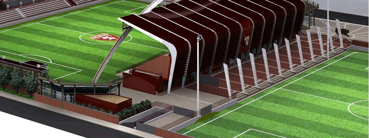 Vista del retro del complesso. In questa vista è visibile (in grigio) l'area riservata al Torino FC e al transito della squadra dal campo secondario.