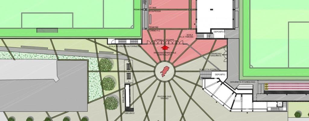 Pianta del piazzale Sud, che dovrebbe essere una zona di aggregazione dei tifosi del Toro.