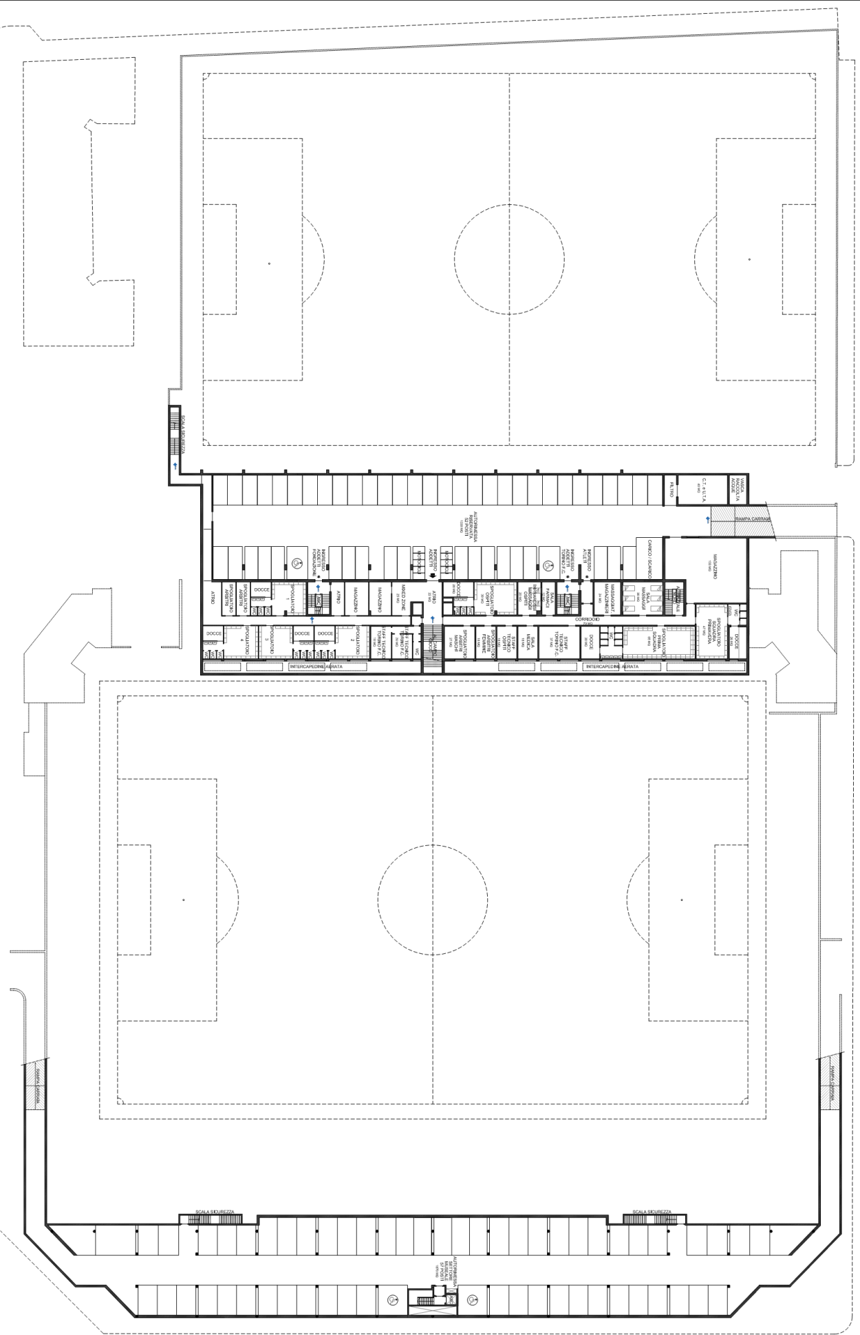 Progetto filadelfia pianta completa del piano interrato for Progettista del piano interrato