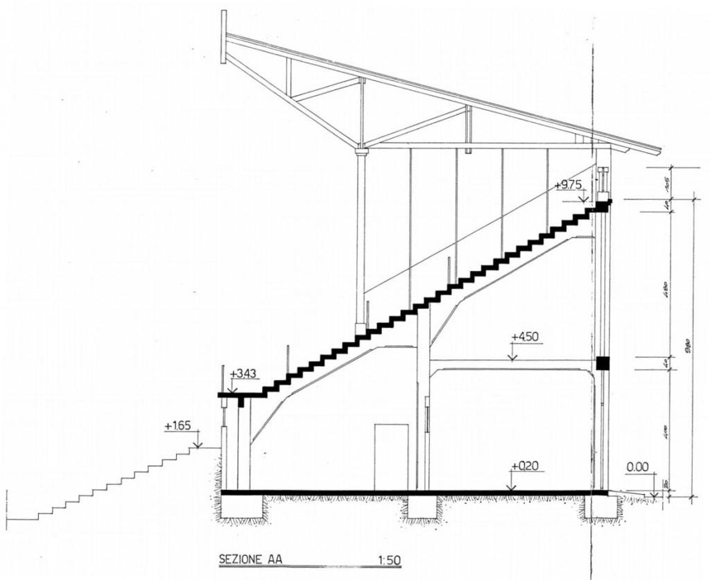 Progetto Ossola 1986 - Sezione della tribuna principale