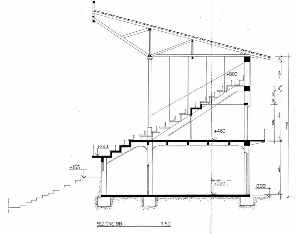 Progetto 1986 - Sezione centrale della tribuna principale (sezione BB)